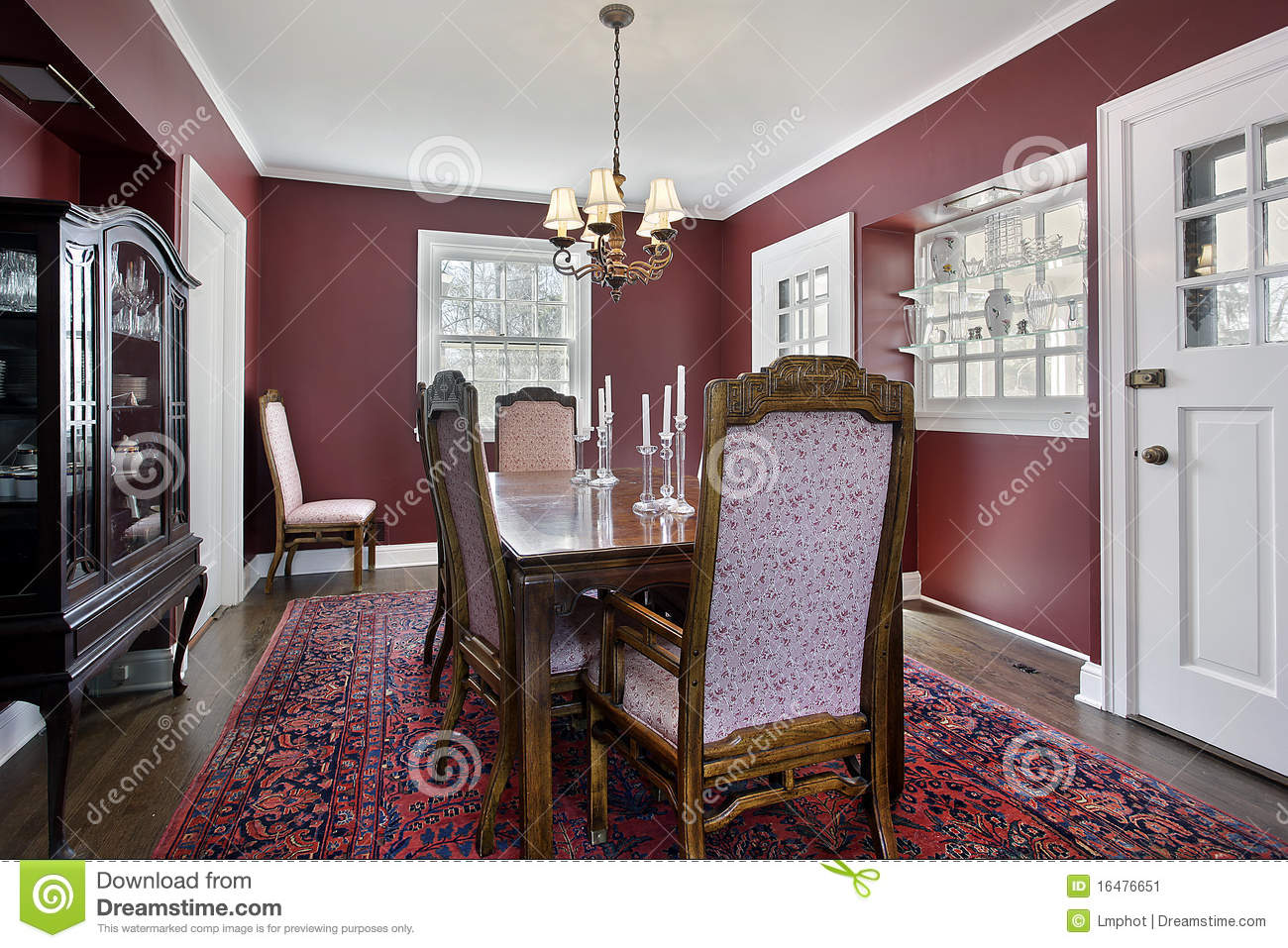 dining room with maroon walls stock image - image: 16476651