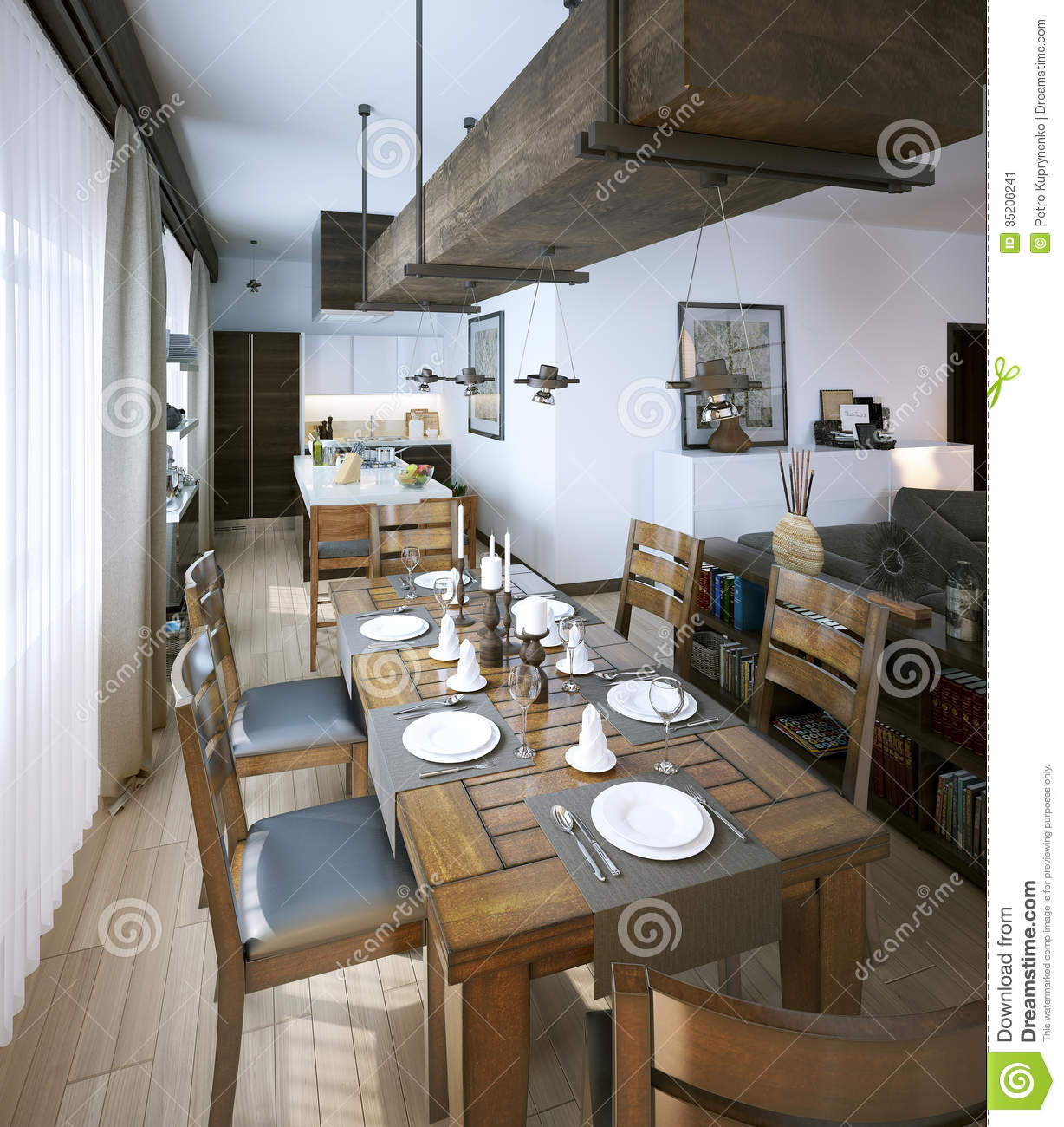 dining room modern style stock image - image: 35206241