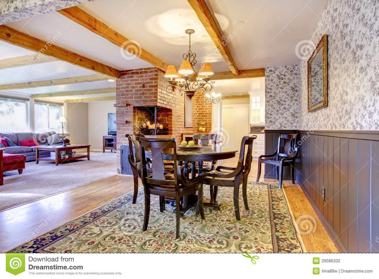 Dining Room Near Brick Fireplace And Living Room Stock Photography Image 29586332