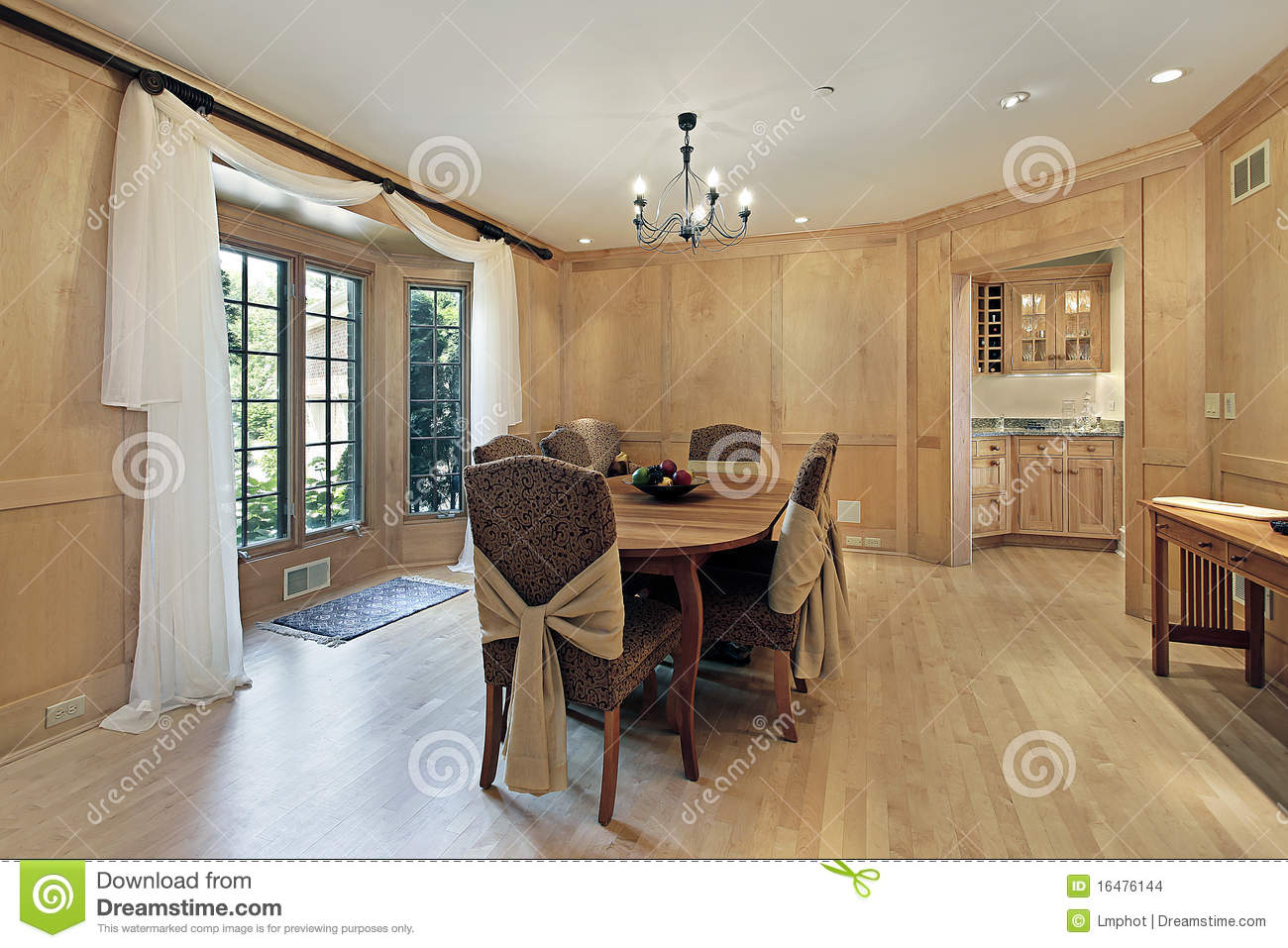 Oak Wood Room ~ Dining room with oak wood paneling stock photo image