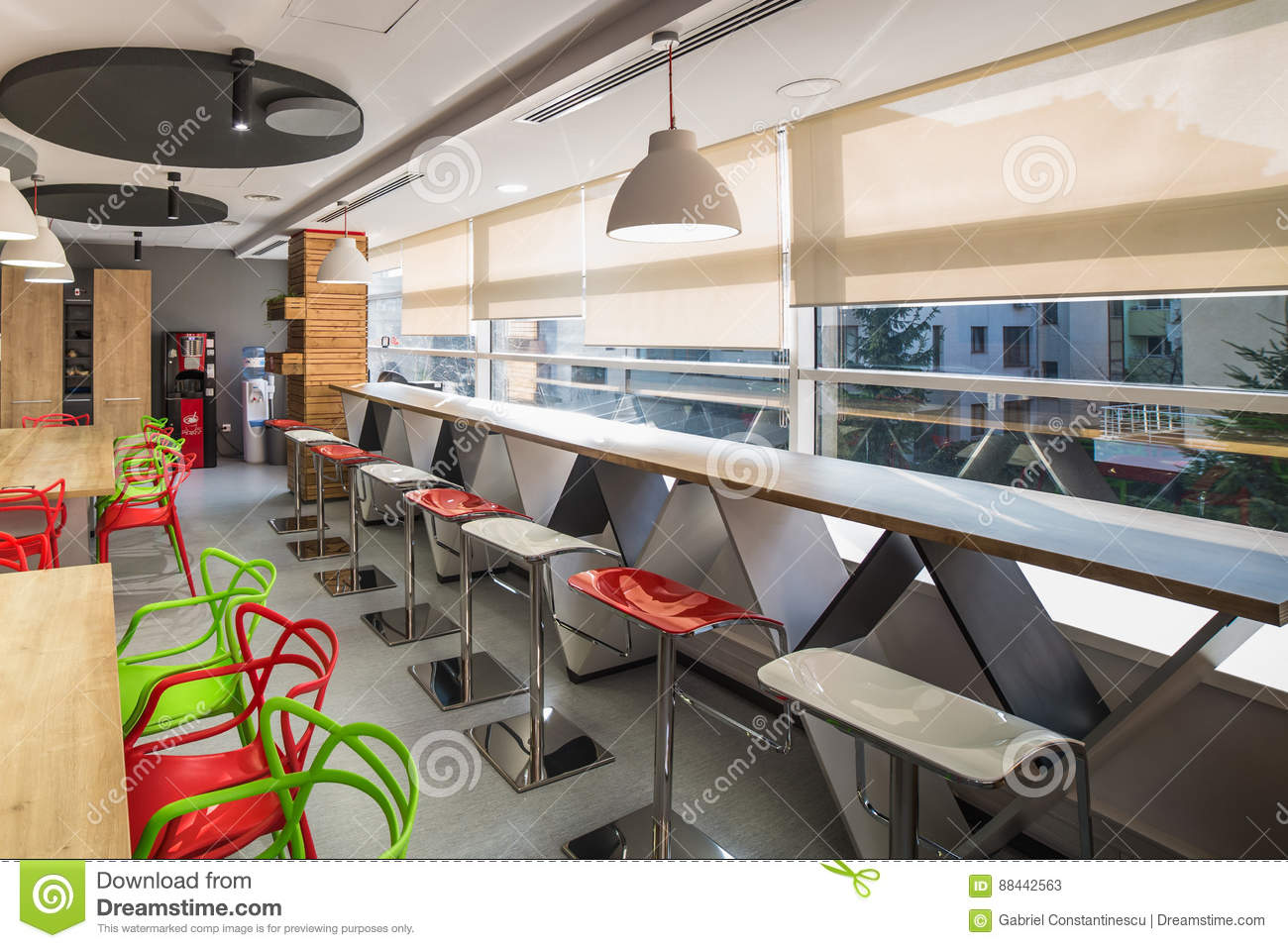 Dining room in office building