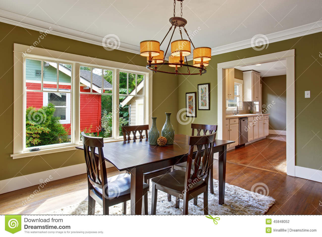 2 Tone Kitchen Cabinets Dining Room With Olive Tone Walls Stock Photo Image