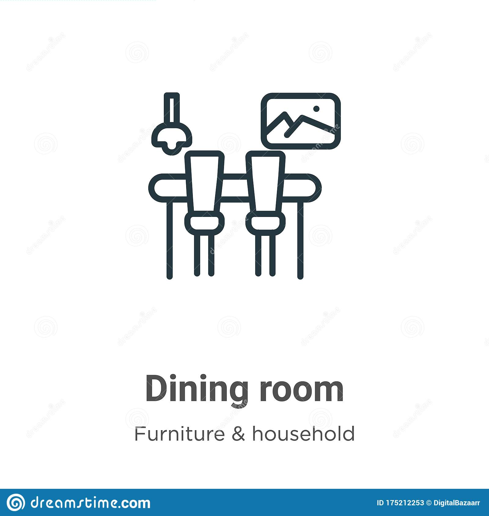 Dining Room Outline Vector Icon. Thin Line Black Dining ...