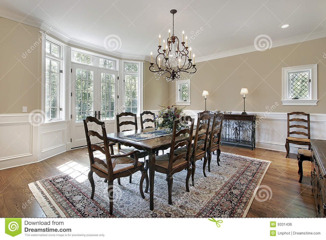 Dining room with patio entrance royalty free stock image for Dining room entrance