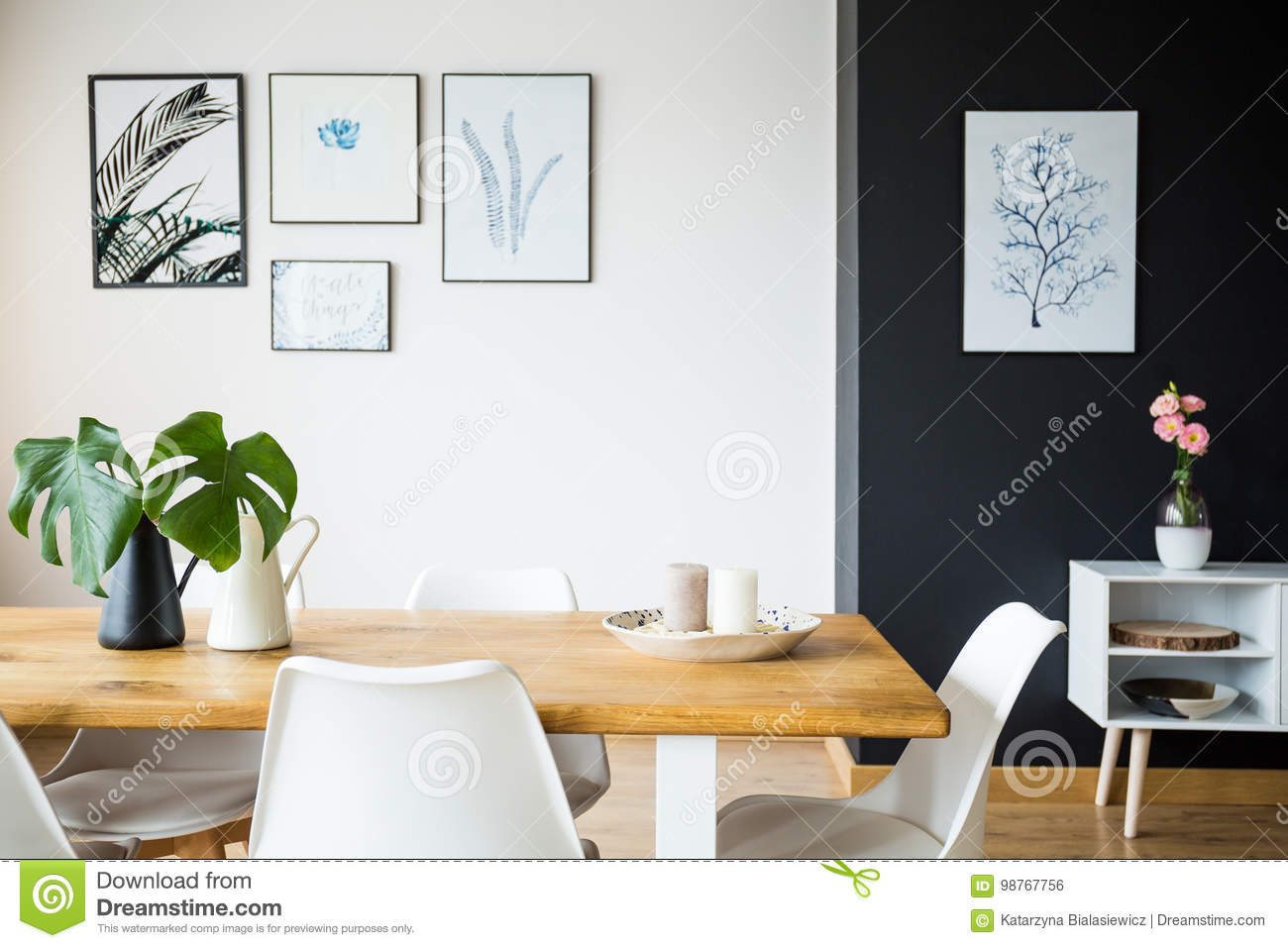 Dining Room With Plant Decoration Stock Photo Image Of Flower Black 98767756