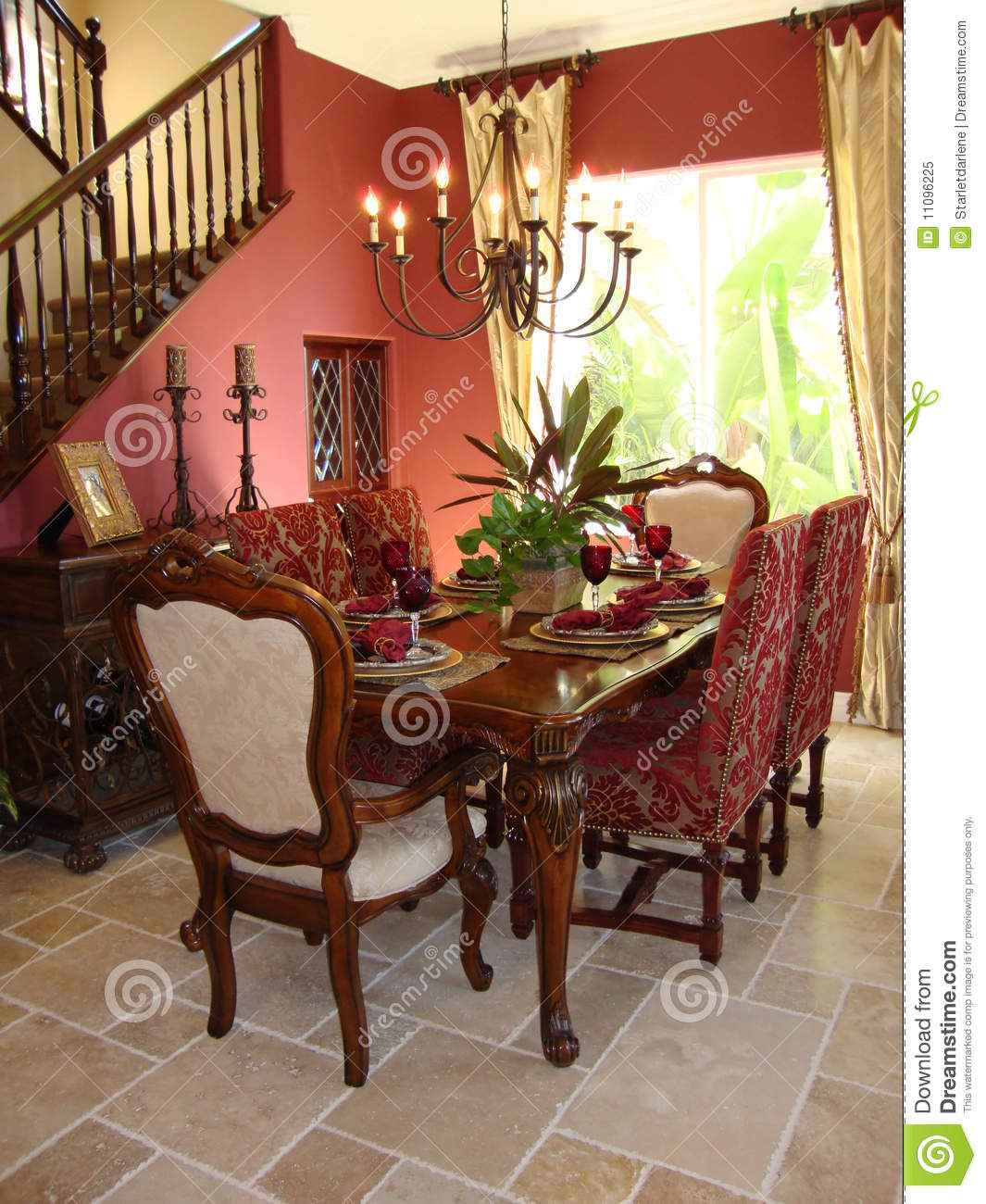 Dining Room Red Elegant Stock Image Image Of Plants 11096225