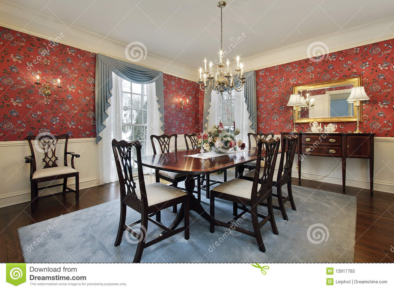 Dining room with red floral wallpaper royalty free stock for Red dining room