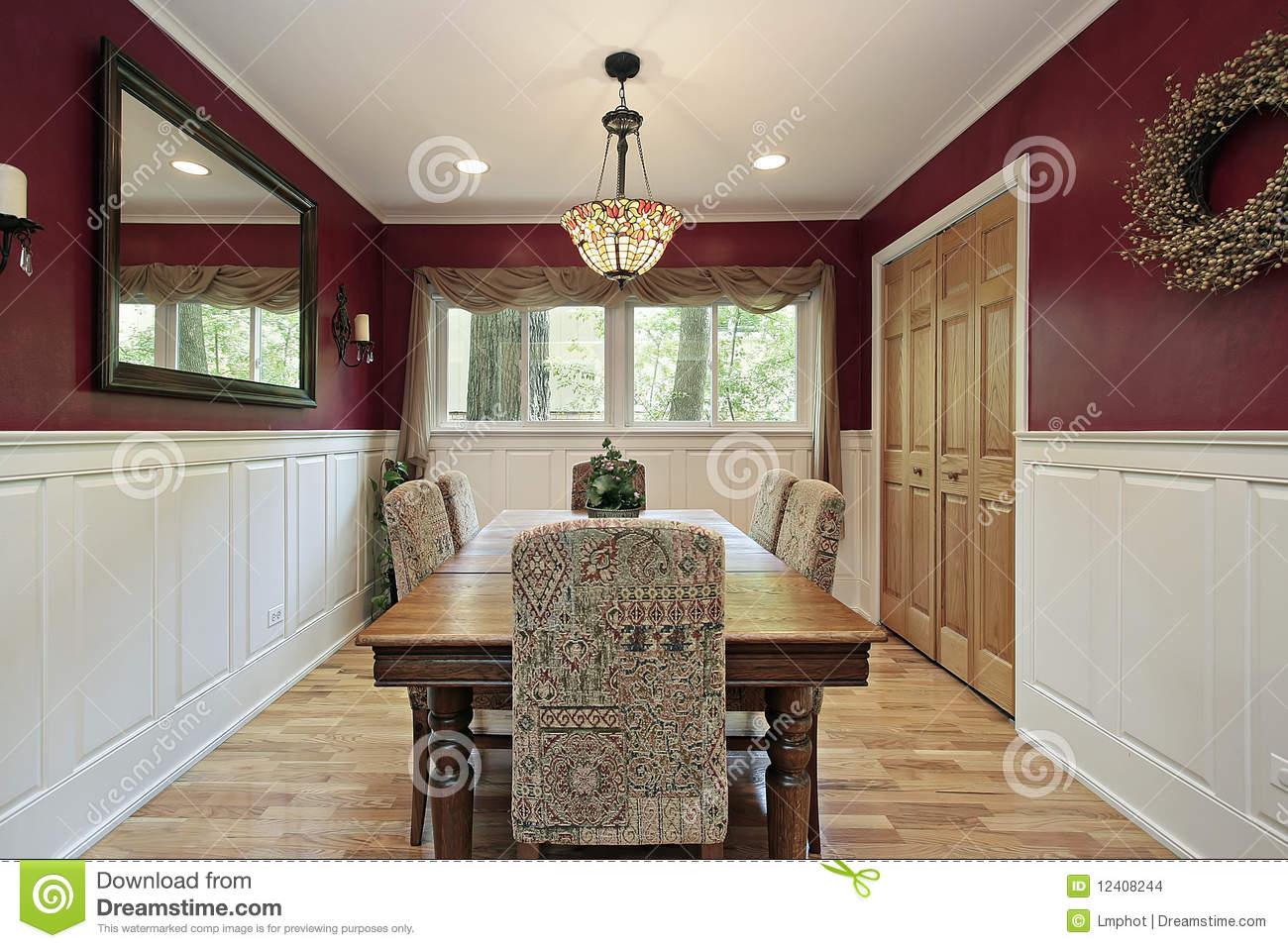Dining Room With Red Walls Stock Images Image 12408244