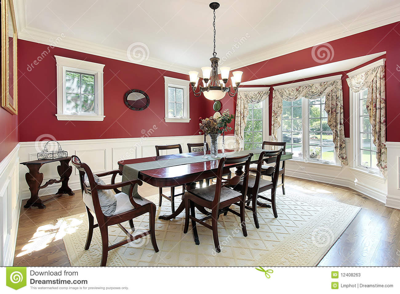 Dining room with red walls stock image image of luxury for Dining room ideas with red walls