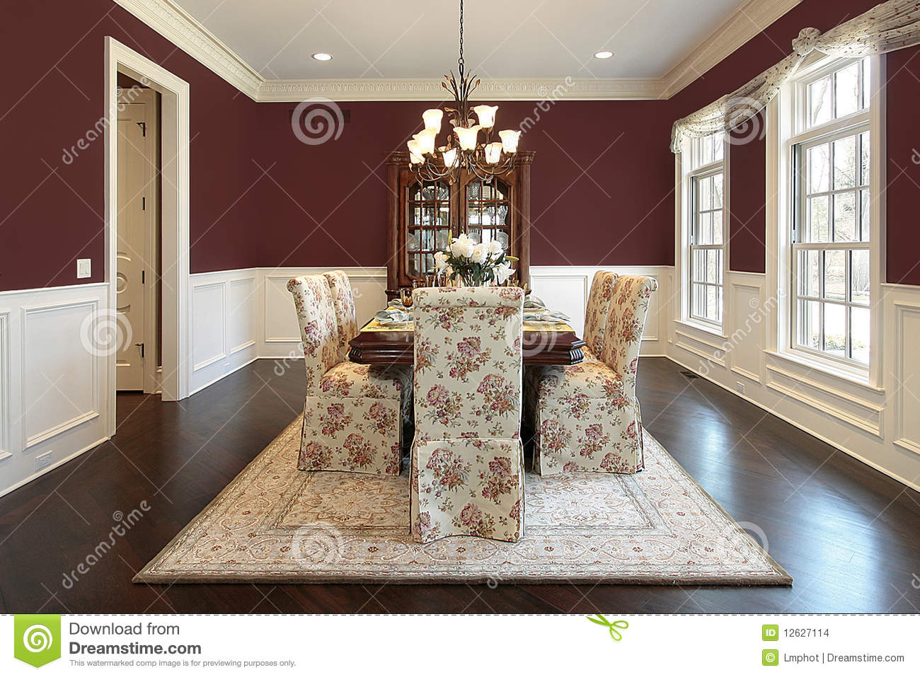 Dining Room With Red Walls Stock Photo Image Of Design 12627114
