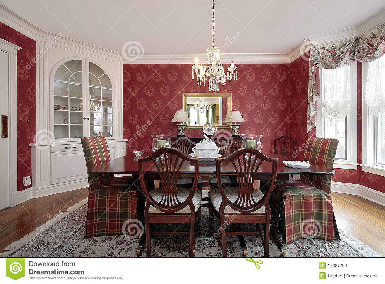 Royalty Free Stock Photo. Download Dining Room With Red Walls ... Part 41