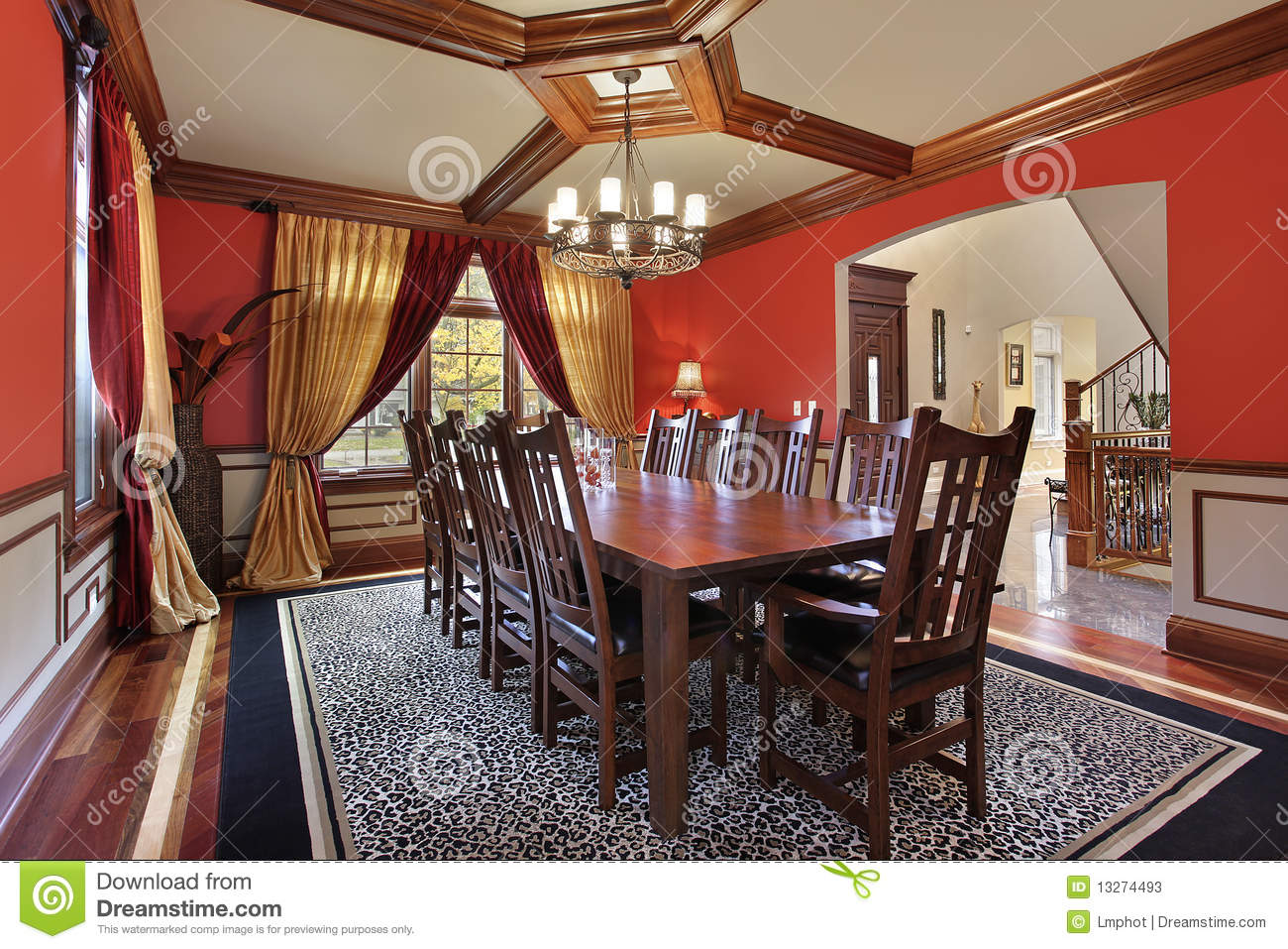 Dining Room With Red Walls Stock Photos Image 13274493