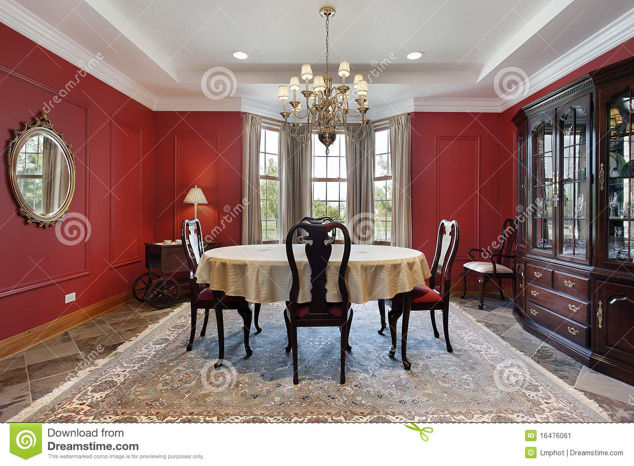 Dining Room With Red Walls Stock Image Image 16476061