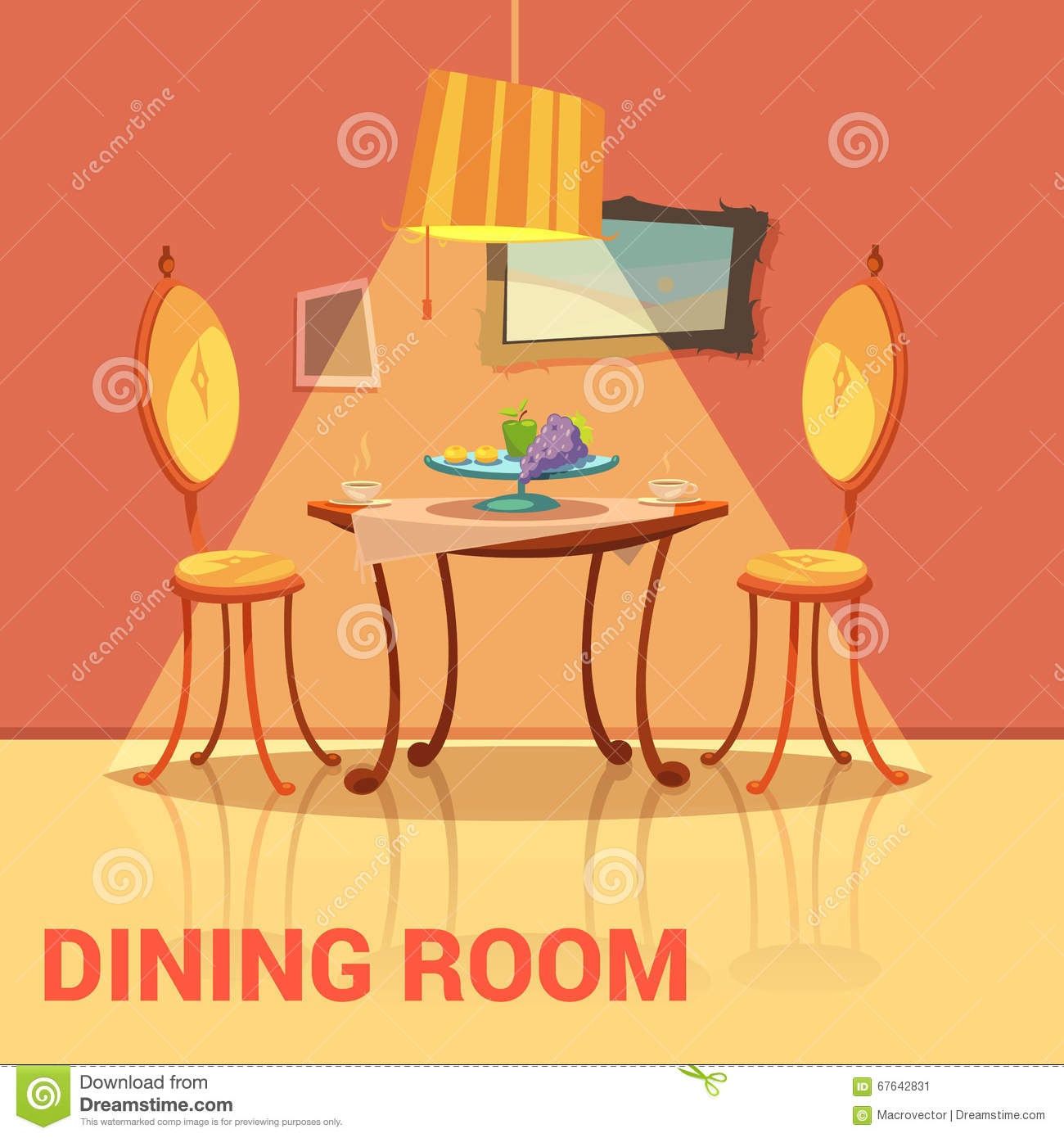 Dining Room Retro Design Stock Vector Image 67642831