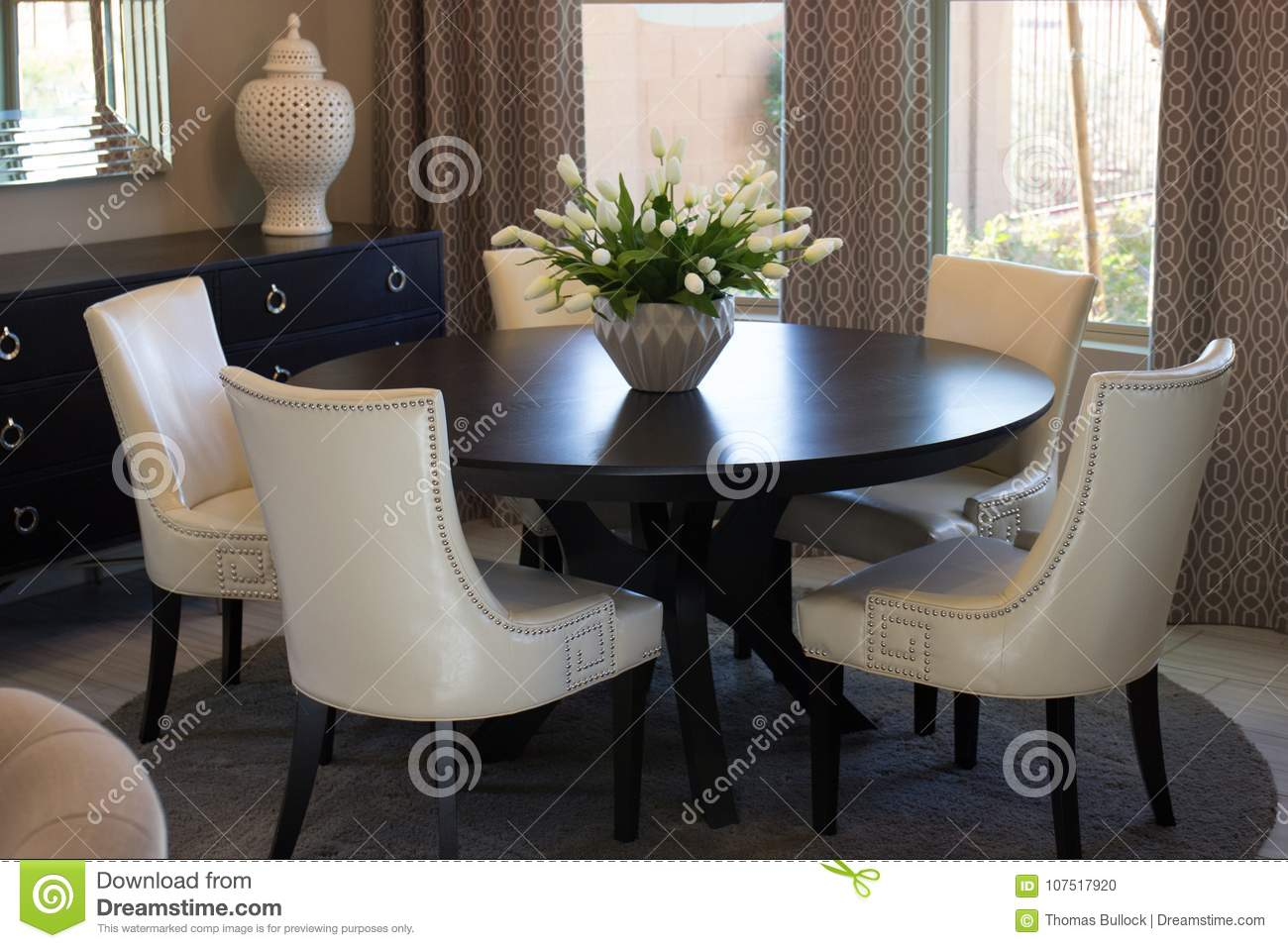 Dining Room Round Table Chairs Stock Photo Image Of Centerpiece