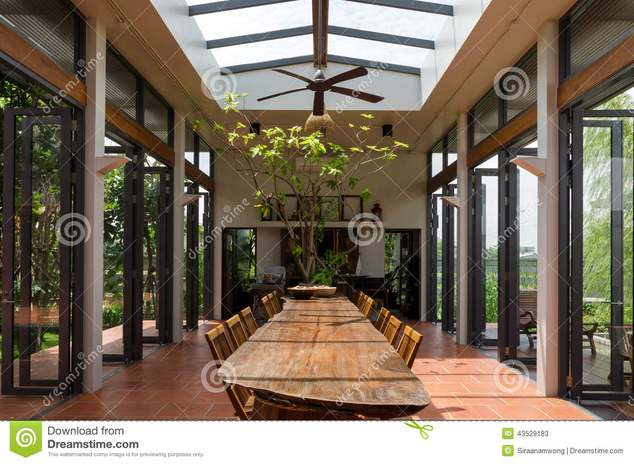 Dining Room With Skylight Stock Image Image Of Luxury