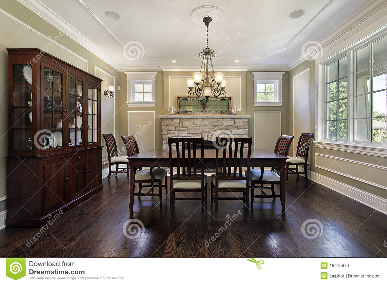 Dining room with stone fireplace stock photo image 16475970 for Dining room fireplace