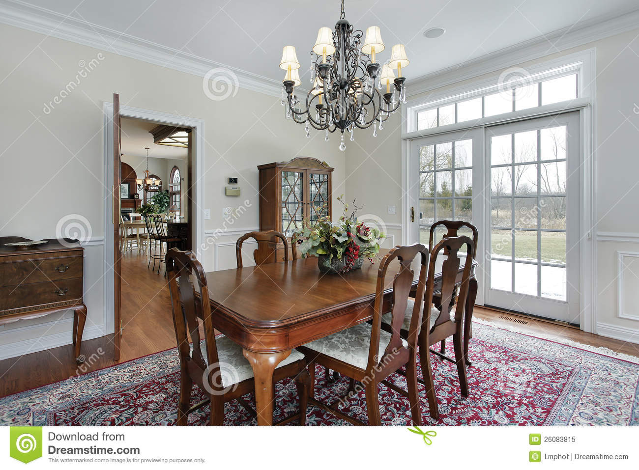 Dining Room In Suburban Home Royalty Free Stock Photo