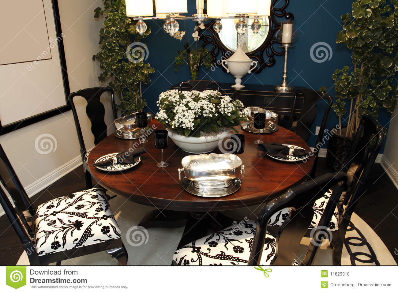 Dining Room Table With Decor Royalty Free Stock Photos