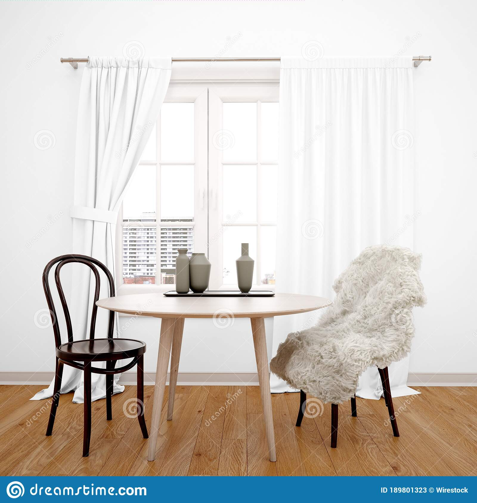 Dining Room Table In Front Of The Window With White Curtains Stock Image Image Of House Empty 189801323