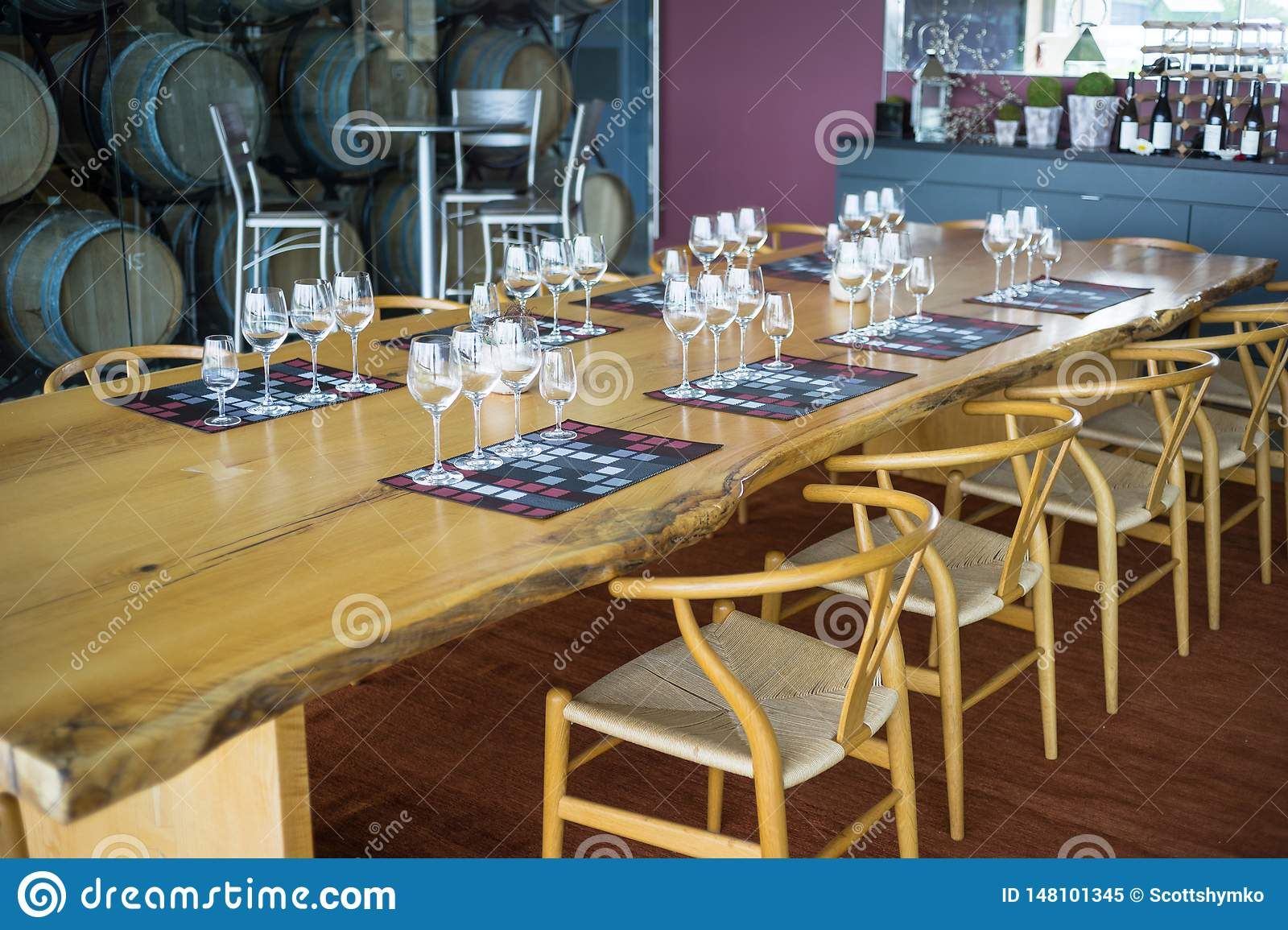 A dining room table set for wine sampling