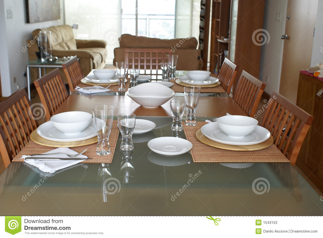 Dining room with table setting stock image image 1543153 for Dining room table setup ideas