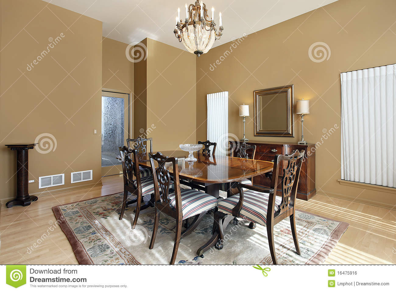 Dining Room With Tan Walls Stock Photo Image Of Interior