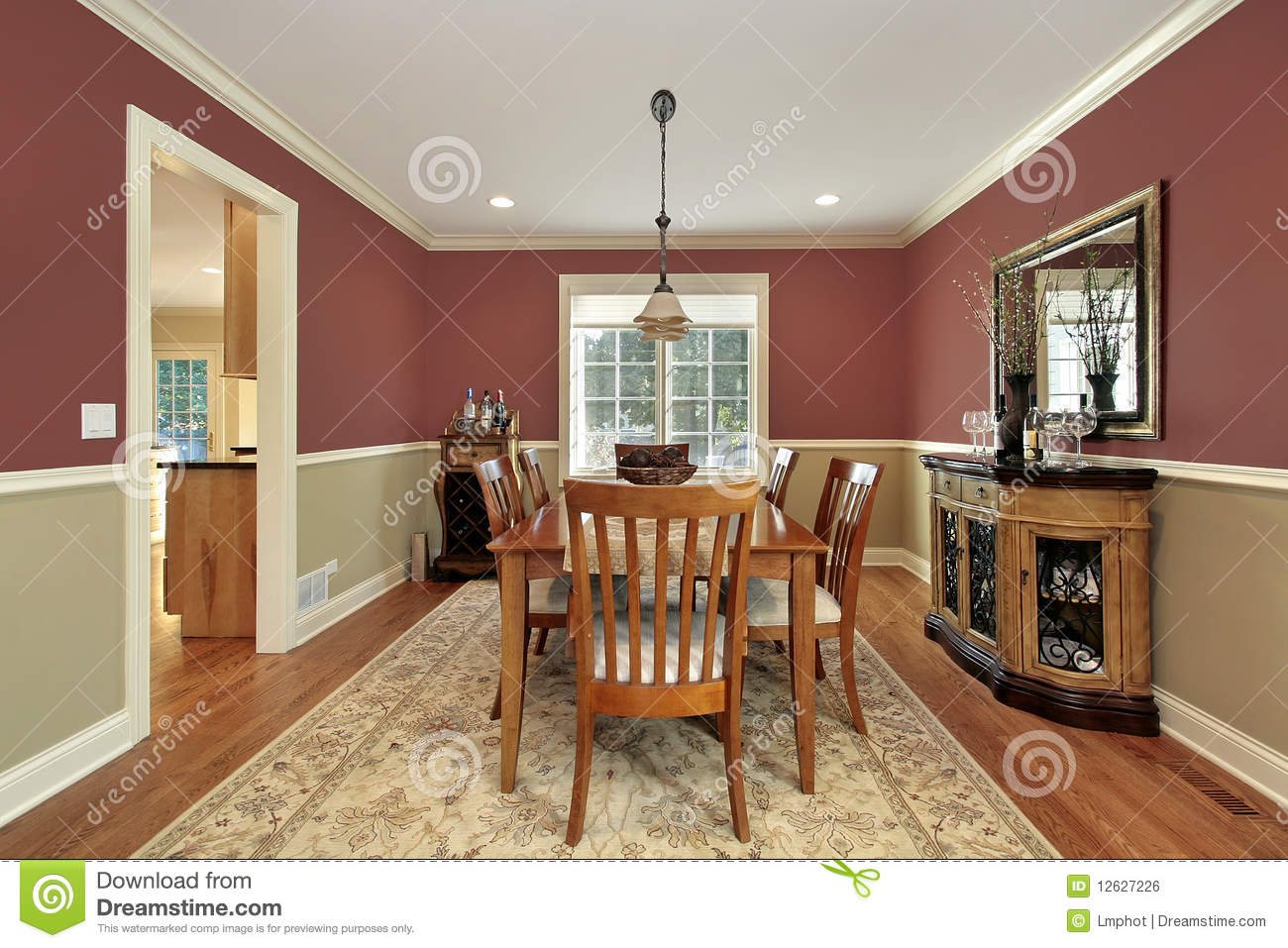 Dining Room With Two Toned Walls Stock Photo Image Of