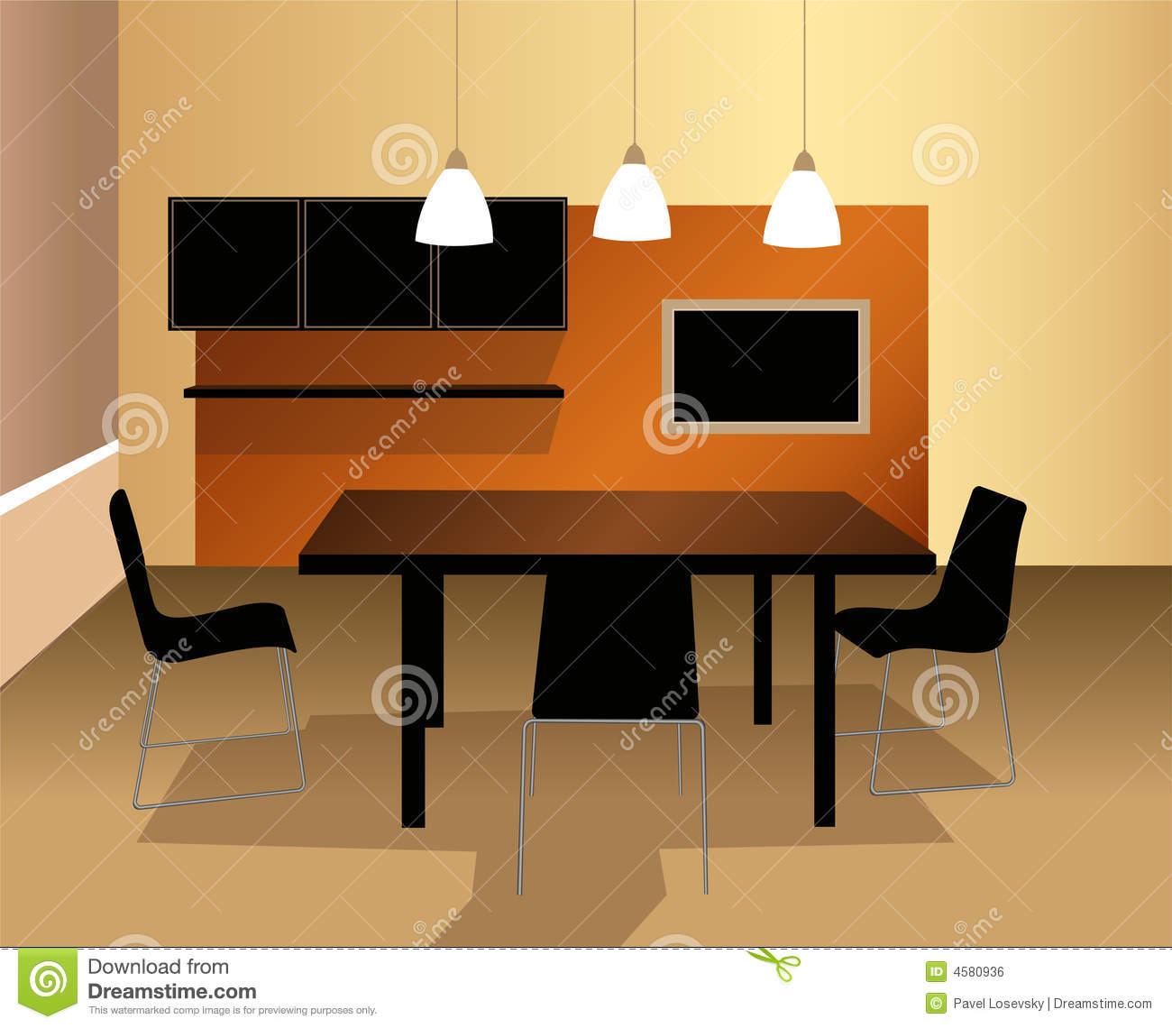 Best Dining Table Illustrations Royalty Free Vector: Dining Room Vector Royalty Free Stock Image