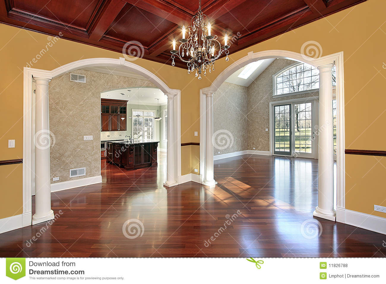 Dining room with white columns stock photo image of for Dining room designs with pillars