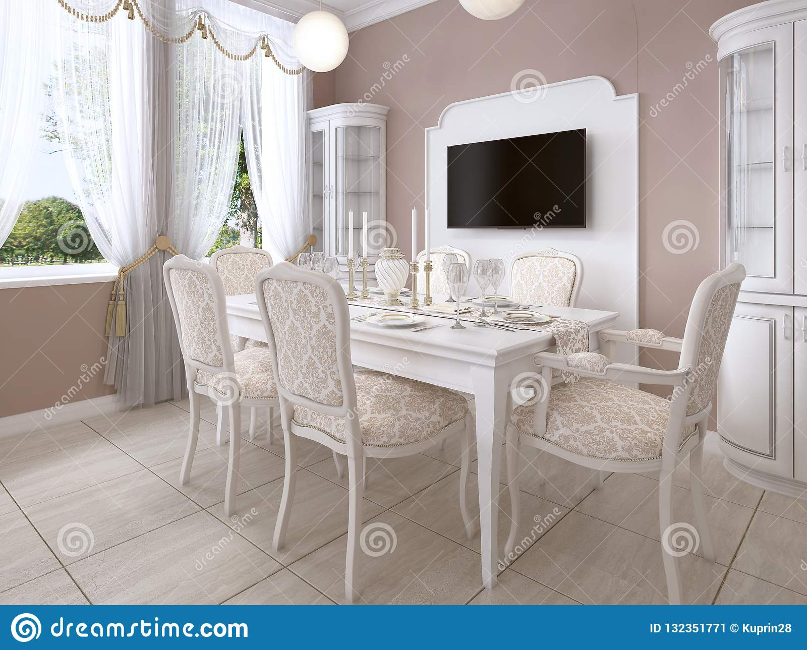 Excellent Dining Room With White Table And Chairs For Six People With Ocoug Best Dining Table And Chair Ideas Images Ocougorg