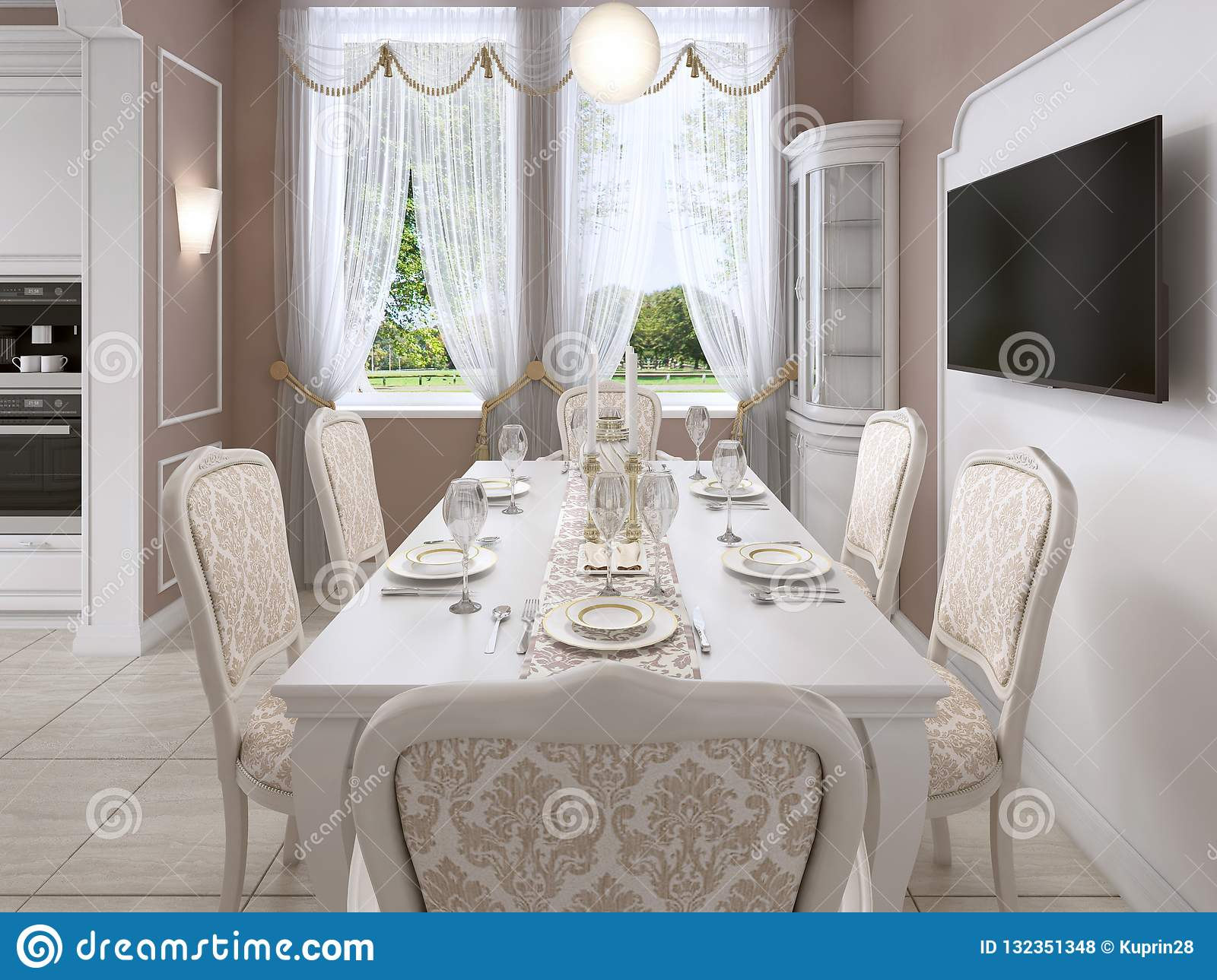 Miraculous Dining Room With White Table And Chairs For Six People With Uwap Interior Chair Design Uwaporg
