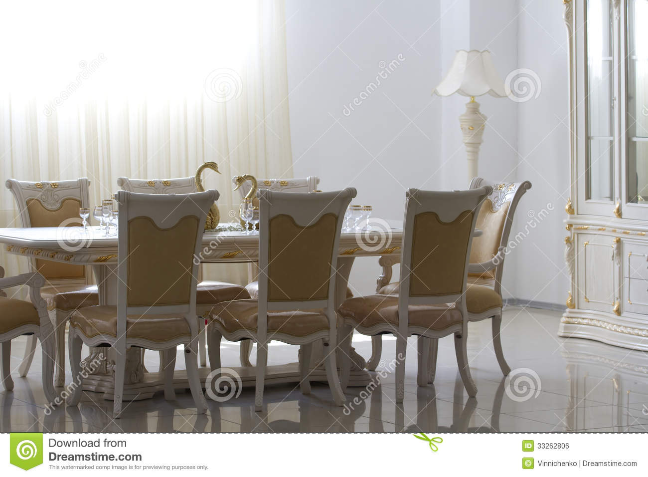 dining room with white wooden furniture royalty free stock image