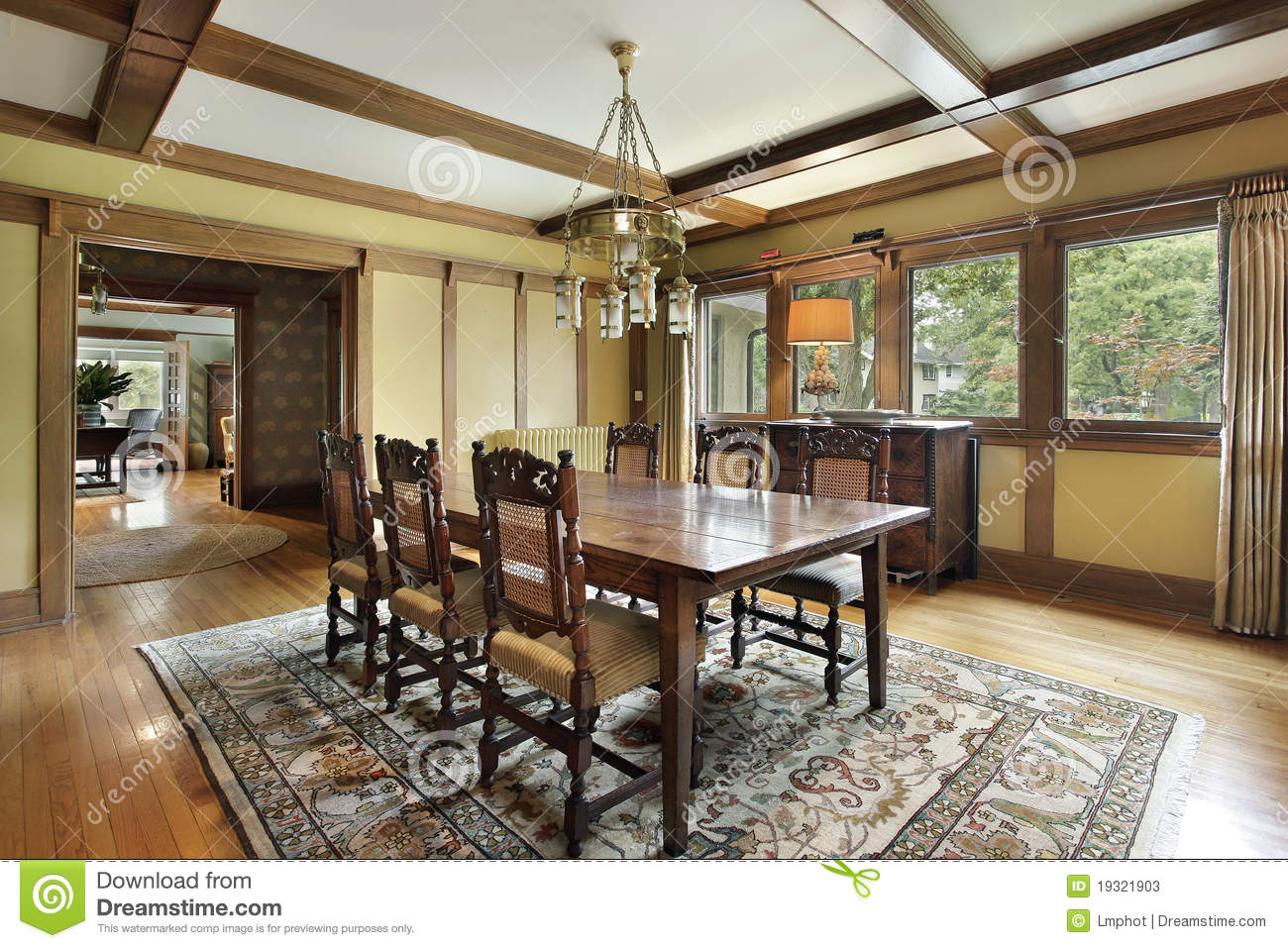 Dining Room With Wood Beam Ceilings Stock Image Image