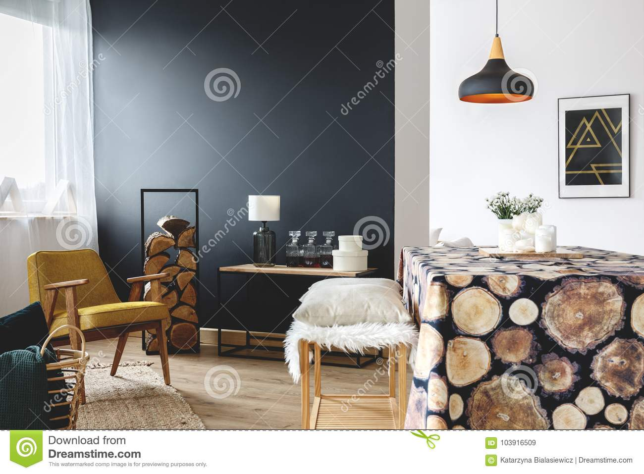 Dining Room With Wood Decoration Stock Image Image Of Details Long 103916509