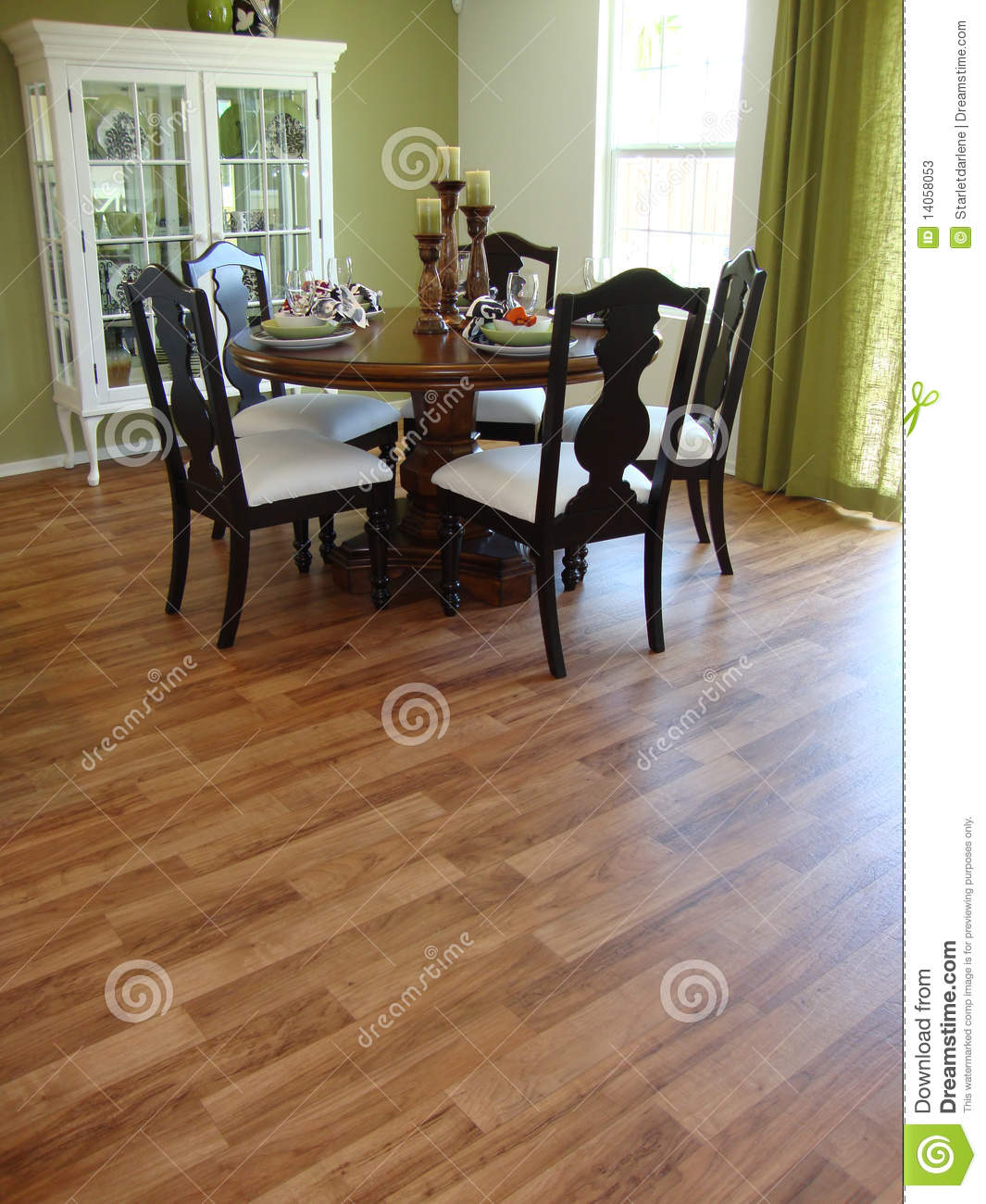 dining room with table and five wood chairs room has wood floors