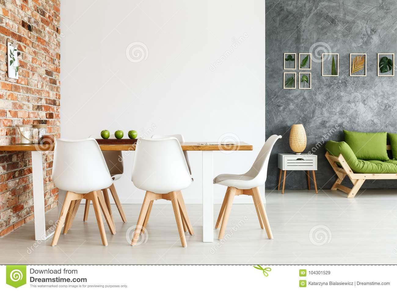 Dining Space Against Brick Wall Stock Image Image Of Contemporary Decorations 104301529
