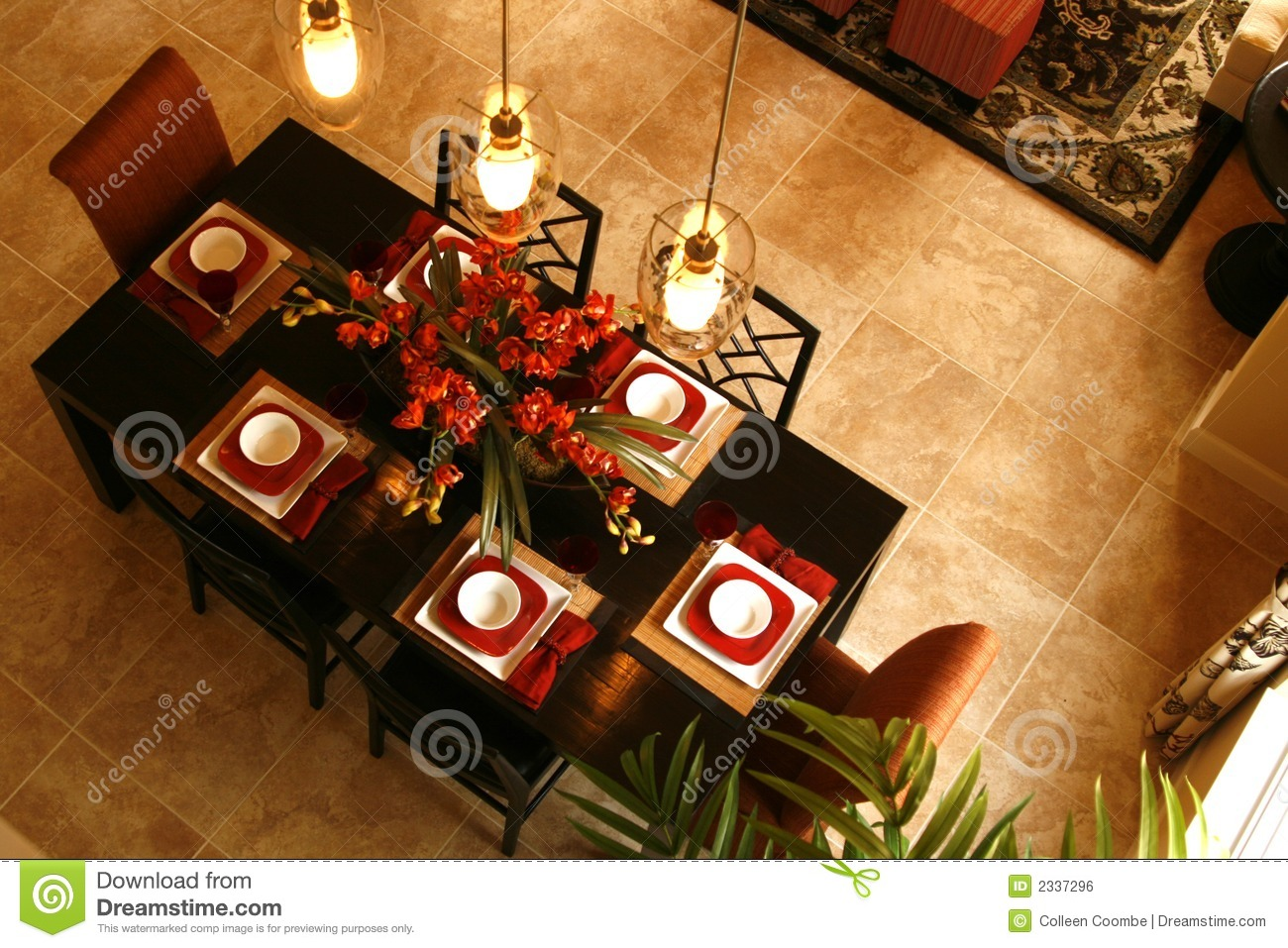 Bamboo Black Carpet Centerpiece Dining Flooring Floral Lights Overhead  Placemats Red Room ...