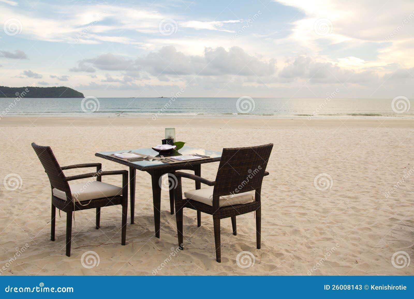Dining table on beach