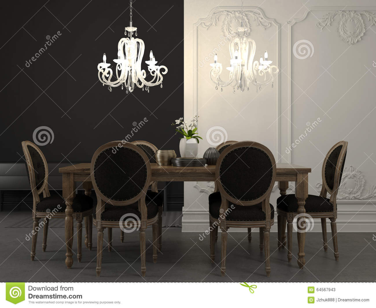 Dining table and beautiful white chandelier stock photo - Dining table against the wall ...