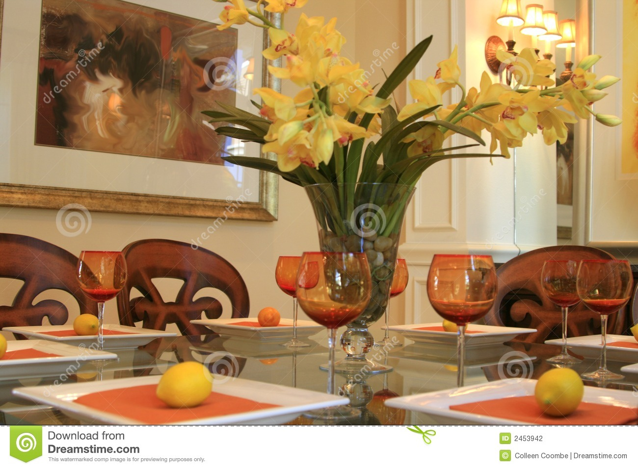Dining Table With Centerpiece Stock Photography - Image: 2453942