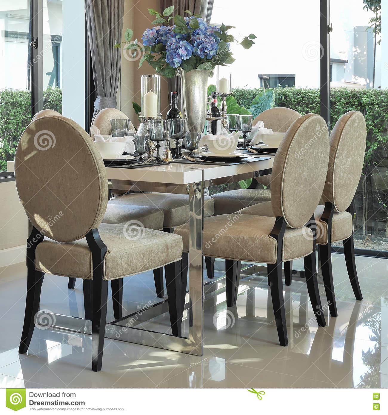 dining table and comfortable chairs with elegant table