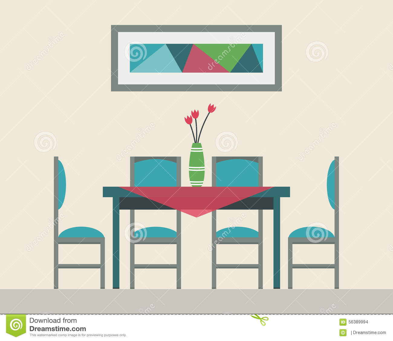Dining Table For Date Stock Vector