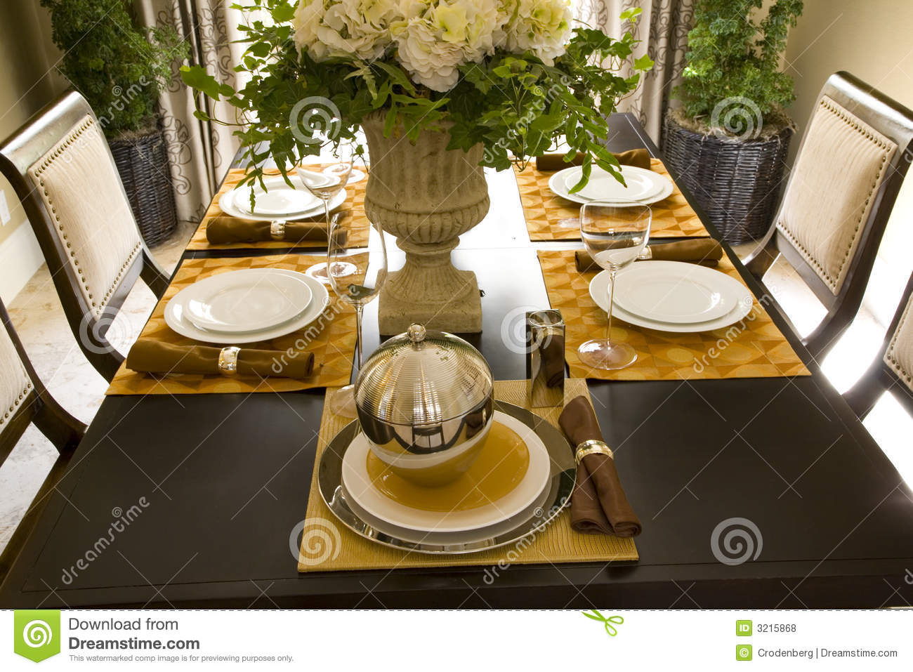 Dining table decor 1707 stock photo image of suburb for Dining table set decoration