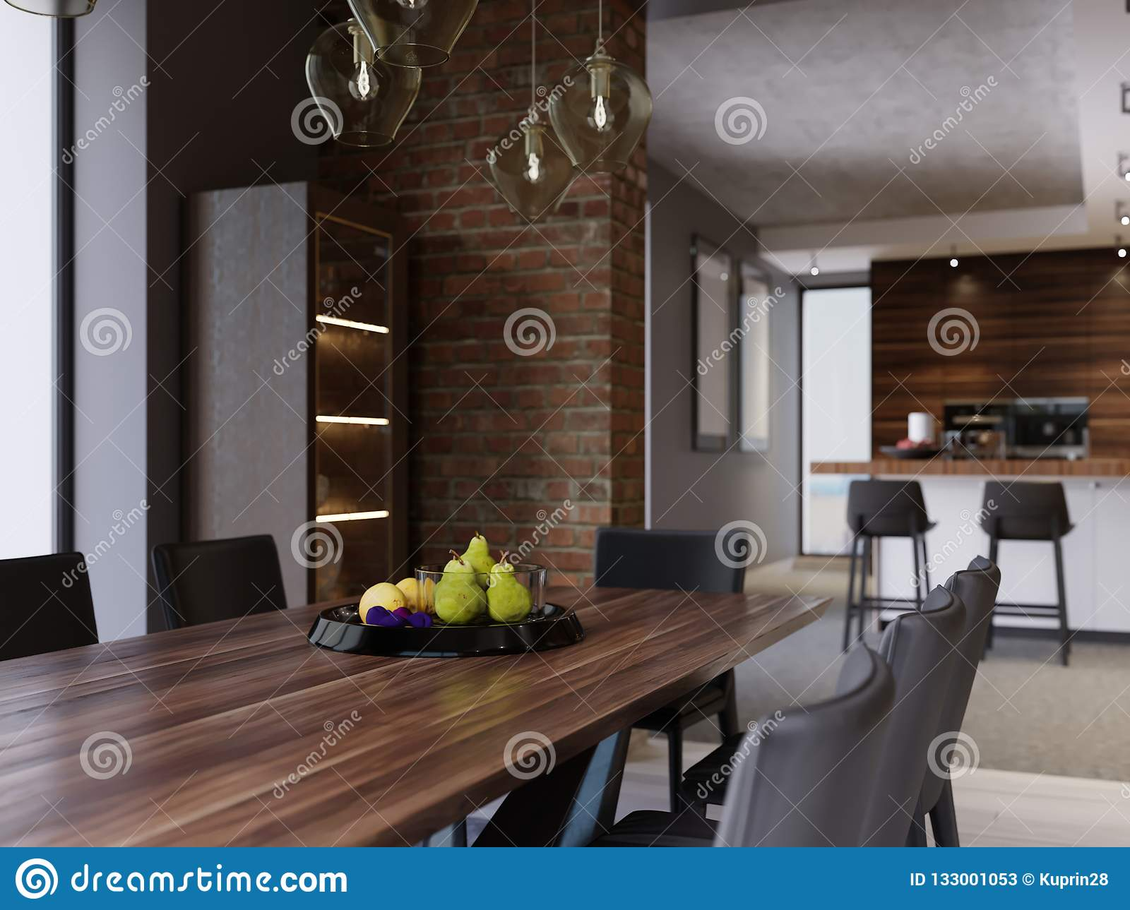 Dining Table With Decor Black Fruit Plate Dining Room In Modern Style In Loft Design Stock Illustration Illustration Of Decor Black 133001053