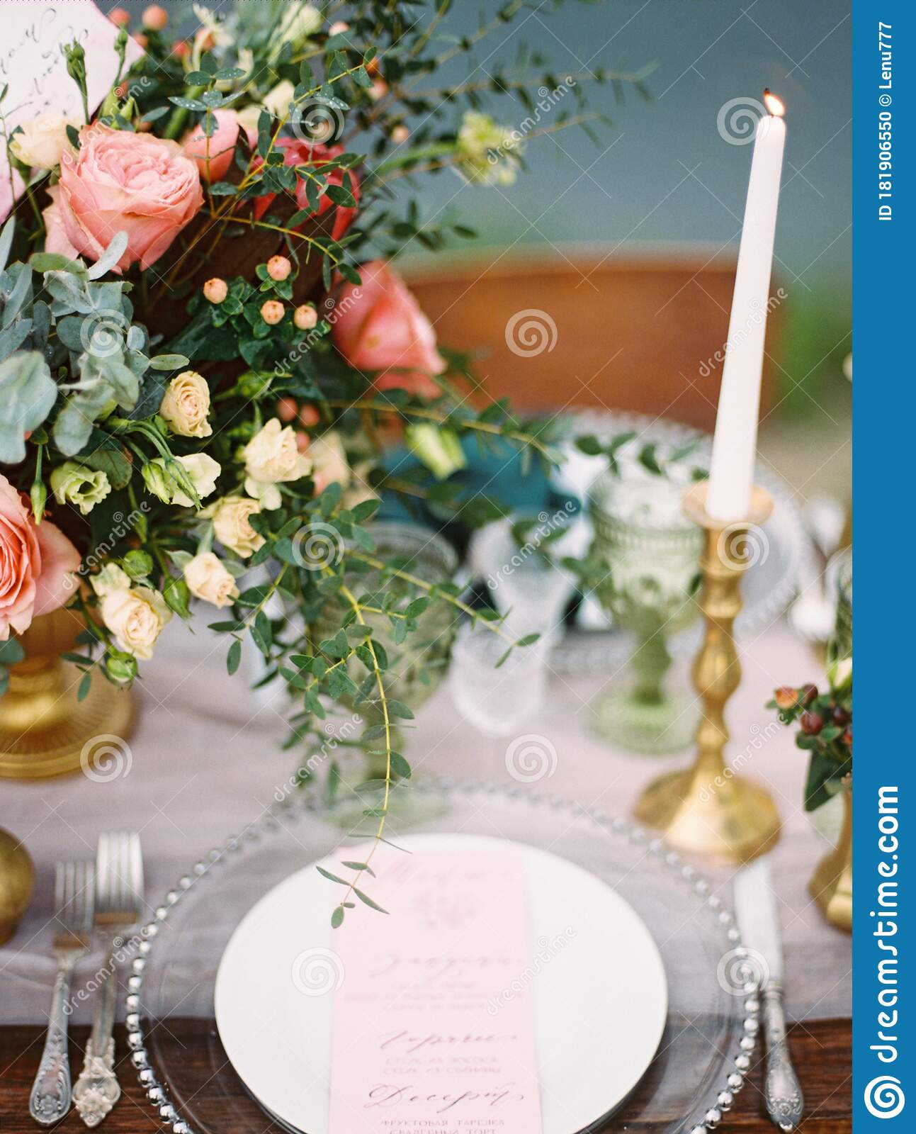 Dining Table Decorations And Festive Table Setting Outdoor Closeup Romantic Vacation On The Beach Stock Photo Image Of Beautiful Calligraphy 181906550