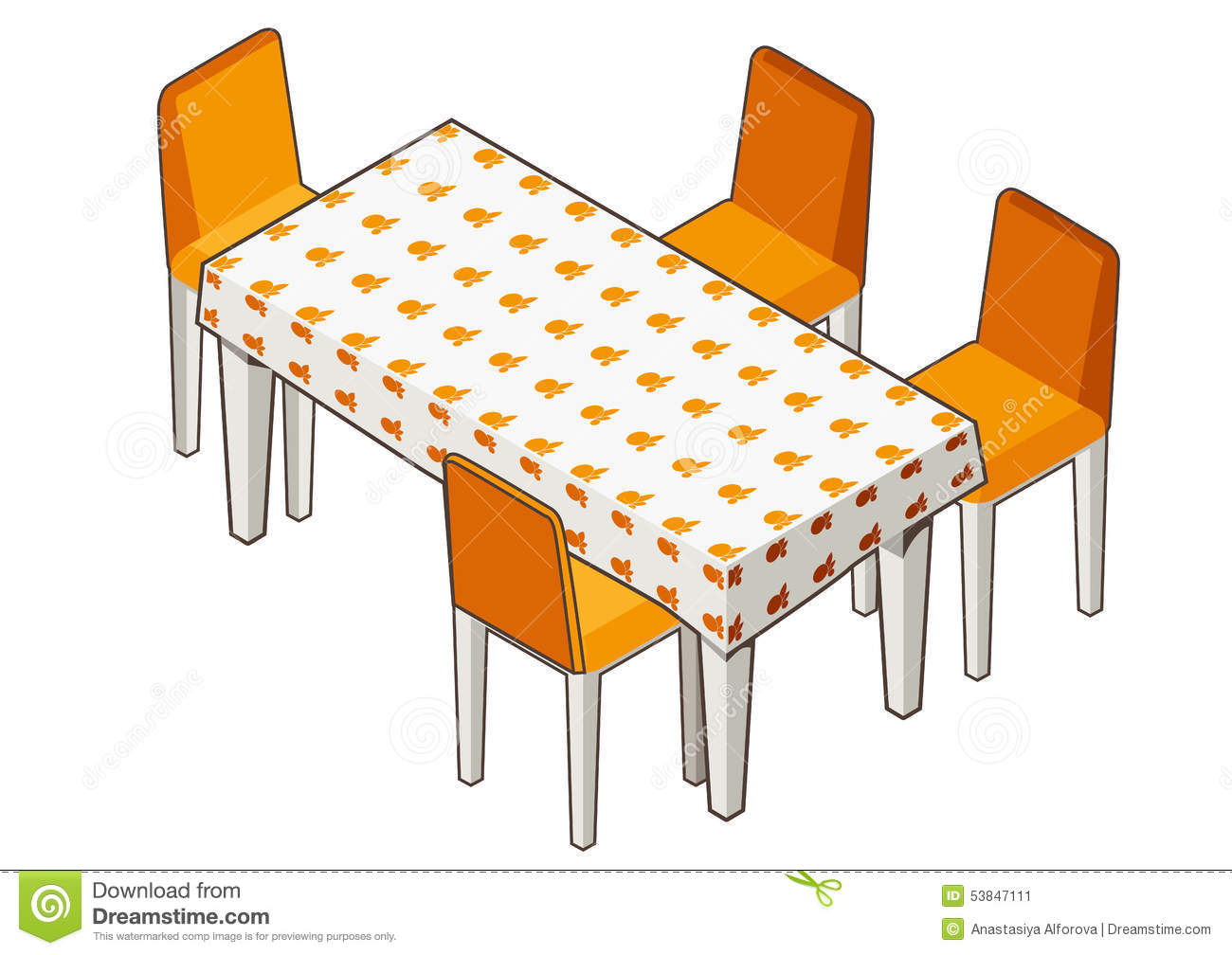 Dining Table With Flowered Tablecloth And Chairs Stock