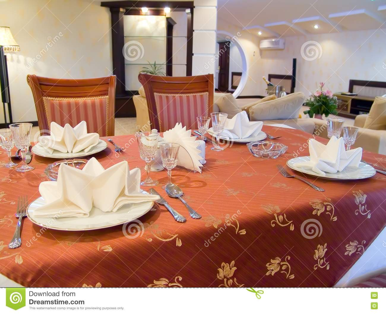 Dining table in hotel stock photo image 17301160 - Hotel dining tables ...