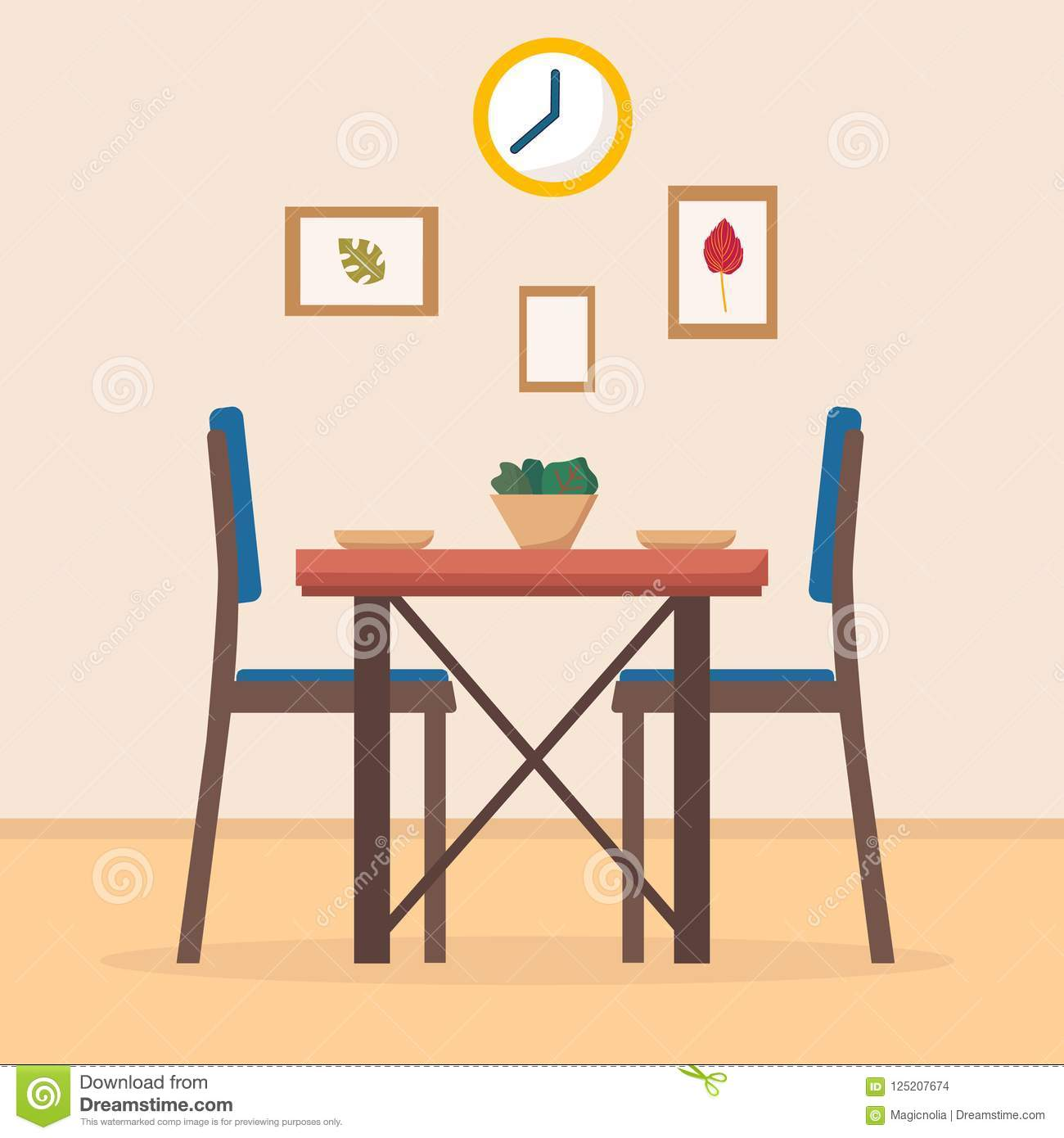 Cartoon Kitchen Furniture: Dining Table In Kitchen With Chairs, Clocks, Frames
