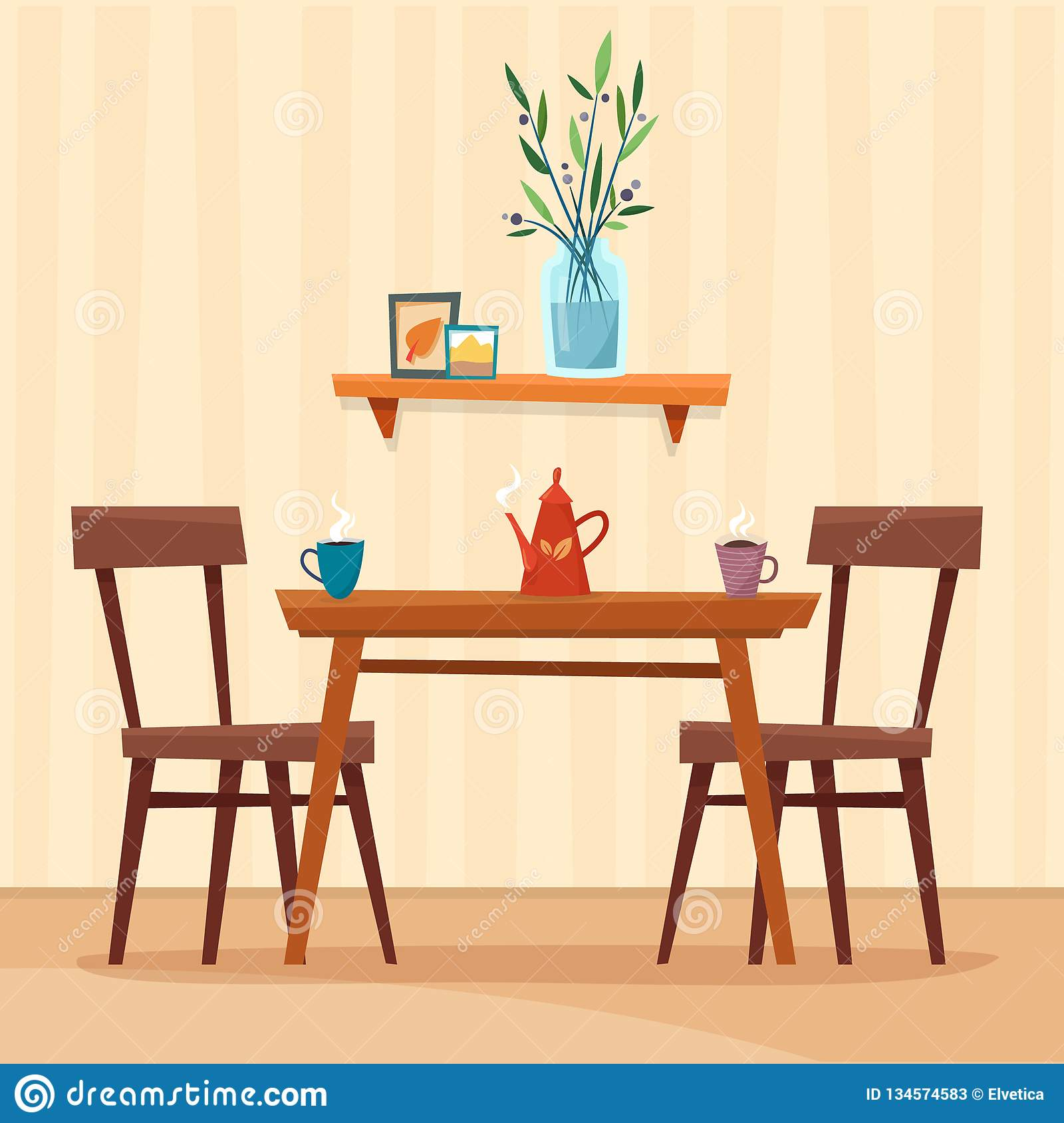 Cartoon Kitchen Furniture: Dining Table In Kitchen With Chairs, Cups And Teapot